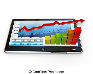 Tablet pc and business graph on the screen 3d