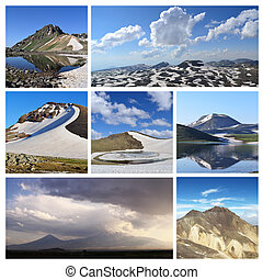 Collage from mountain photographs