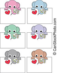 cute elephantswith placards
