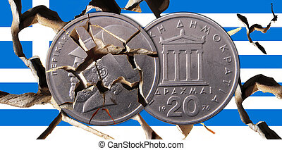 Greece - A broken Greek flag with two drachma coins