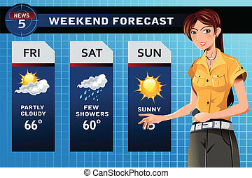 Weather reporter - A vector illustration of a TV weather...