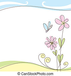 summer card - vector abstract summer or spring greeting card...