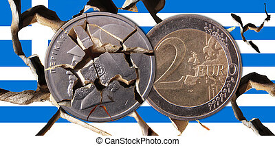 Greece - A broken Greek flag with a drachma coin and a 2...