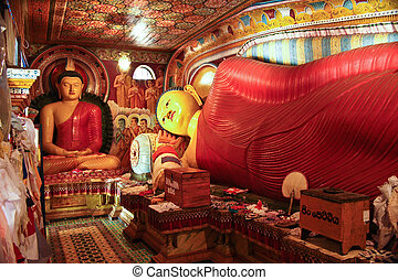 colorful lying Buddah in the Jetavanarama Dagoba, Sri Lanka