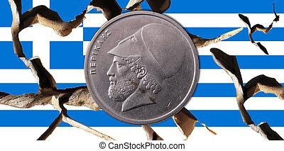 Greece - A broken Greek flag with a drachma coin