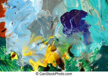 macro of blue paint on an artist palette - Macro photo of...