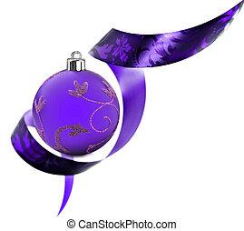 Decorative border made of purple ribbon swirls