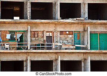 rotten shell of building ocf construction without...