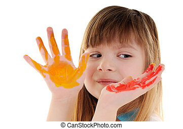 Playful beauty girl with many-coloured hands - Small playful...