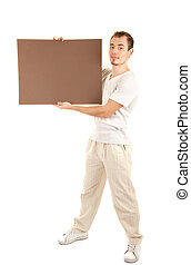 Young man in casual clothes with empty board