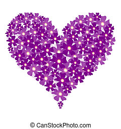 Vector valentine floral heart on white
