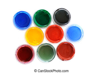 Paints - Many cans with different paints on white background