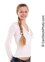 portrait of beautiful blonde with big braid