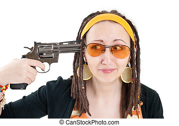 suicide girl with gun