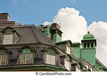 roof of old house in Stockholm, Sweden