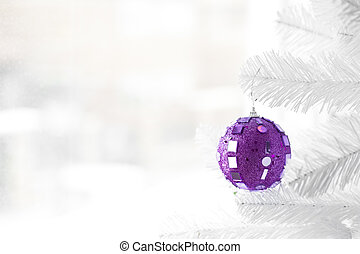 Purple bauble on Christmas Tree - Purple bauble hanging on...