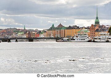 panorama of Stockholm city, Sweden in autumn day