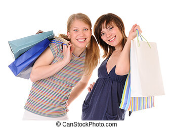 Two young women with purchases - Two young casual beauty...