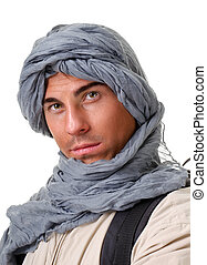 tourist hiding his head under a shawl - young man - tourist...