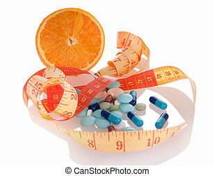 Medicine and diet to lose weight - Concept of diet and...