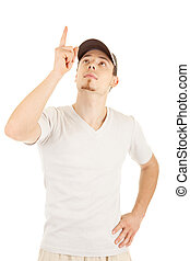 Young man is pointing and looking up