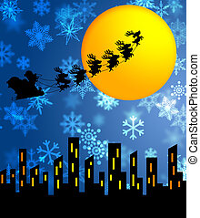 Santa Sleigh and Reindeers Flying Over the City - Santa...