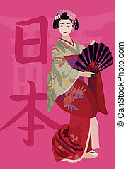 Geisha - Illustration with a Geisha holding a fan and kanji