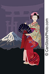 Geisha - Background illustration with Geisha and Mount Fuji