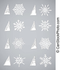 Paper Snow Flake Vector set - snowflake cut from paper...