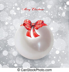 Pearl Christmas Ornament Vector - Christmas ornament and red...