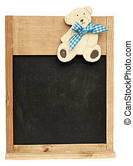 Vintage childrens blackboard with a cute teddy bear