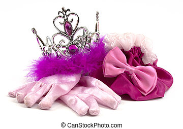 rosa, princesa, accesorios, corona, guantes, bolsa
