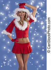 red sexy christmas lady smiling - sexy and beautiful blond...