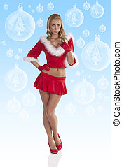 red sexy christmas girl full body