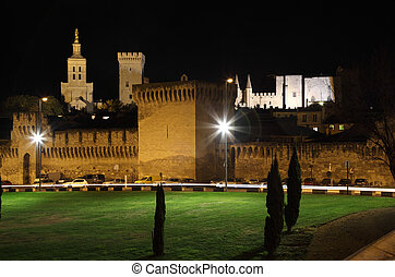 Fortified wall of Avignon at Pope's Palace at night, France