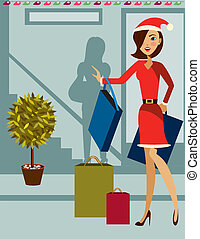 Christmas shopping - is an illustration for the Christmas...