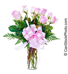 One dozen pink roses flower arrangement in glass vase for...