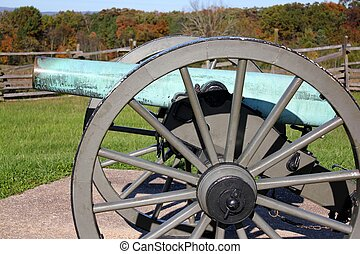 blue canon at gettysburg - side view of a canon at...