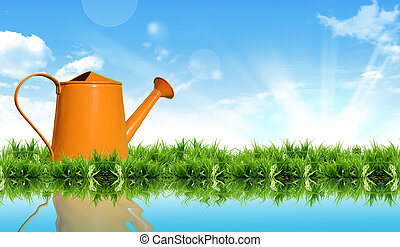 watering can on the grass with the bright sky. - watering...