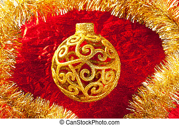 Christmas card golden bauble and tinsel - Christmas card...