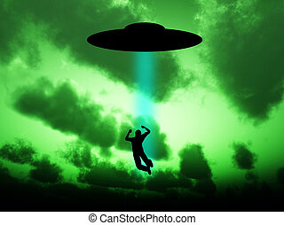 UFO Abduction - Silhouetted UFO that is abducting a human...