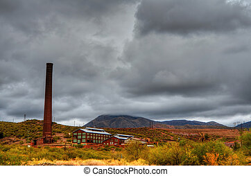 Storm at a deserted Mine - Storm forming over a deserted...