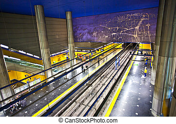 subway in Madrid - underground with approaching train in...
