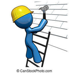 3D, azul, homem, trabalhando, telhado, roofer, profissional