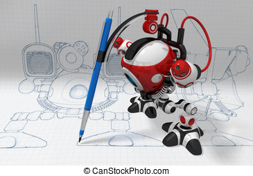 Designer Robot with Mechanical Pencil Plotting Plans -...