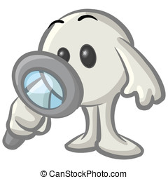 Royalty-free clipart picture of a white konkee character inspecting with a magnifying glass, on a white background.