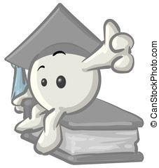 Royalty-free clipart picture of a white konkee character graduate in a cap, sitting on a book, on a white background.
