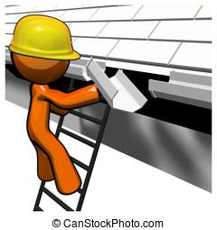 3D, laranja, homem, telhado, trabalhador, trabalhando,...
