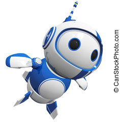 3d Cute Blue Robot Flying Like a Hero