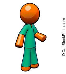Scrubs. Orange Man.  - An orange man wearing scrubs.